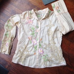 Johnny Was Tops - Johnny Was Cream embroidered Button down blouse